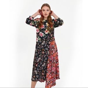ZARA | Mix Floral Print Patchwork Midi Dress